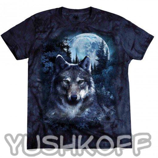 Харизматичный волк, луна, гора... Классика жанра!